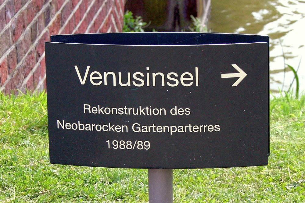 Hinweisschild zum Venusgarten