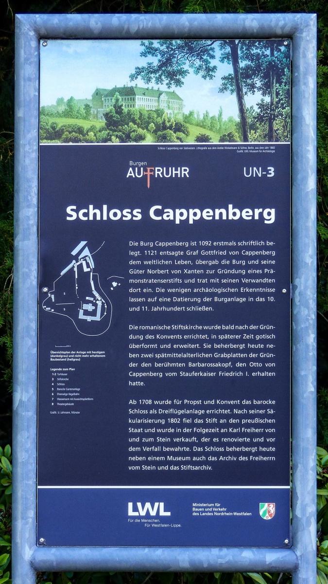 Schloss Cappenberg | Hinweis am Torhaus